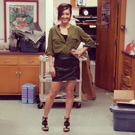 Trina Turk blouse and leather skirt, Champion tank and shorts (underneath), BCBG Generation sandals