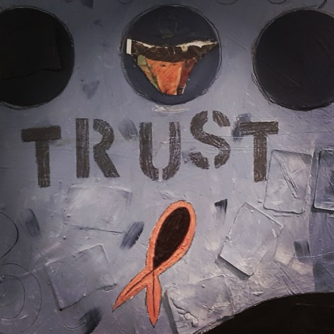 Trust (detail), 1998, oil & collage, $200