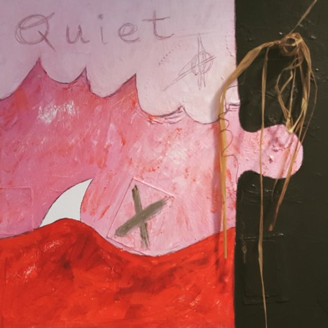 Quiet (detail), 1998, oil & collage, $200