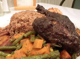 Traditional Jamaican Sabbath lunch as a child consisted of Fricaseed chicken with rice and peas cooked on Friday evening, and eaten cold on Sabbaths
