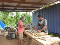 Arthur and Charlie making feeder tray frames