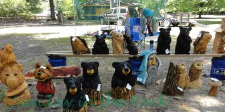 Chainsaw carvings from Boon Hill.