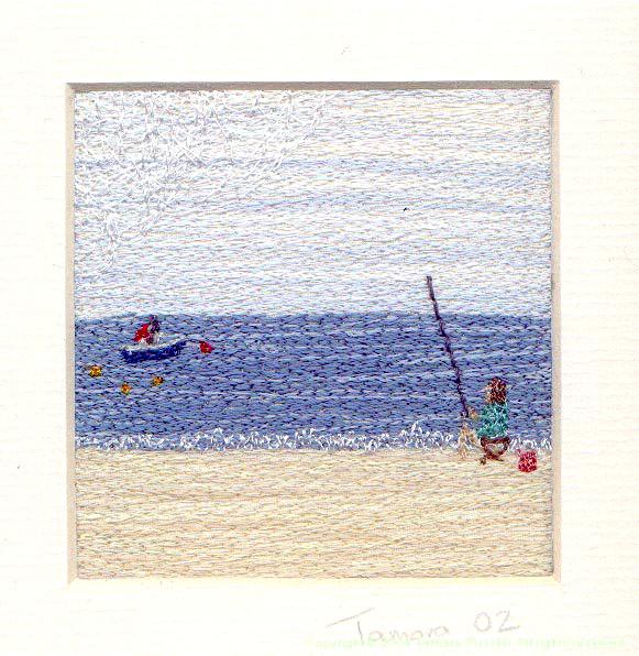 Fishing - Freehand machine embroidery by Tamara Russell – Karhina.com