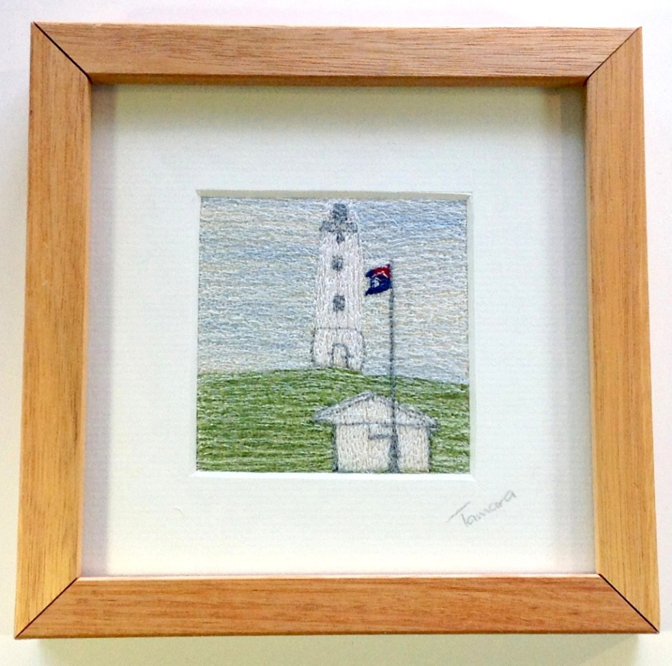 Lighthouse - Freehand machine embroidery using landscape images to create amazing wall art – Tamara Russell – Karhina.com