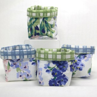 Upcycled fabric buckets for keeping all those bits and bobs tidy.