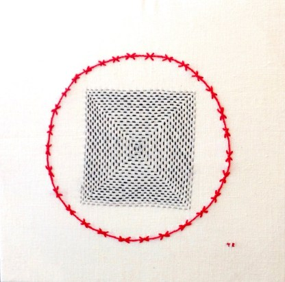 Women & Children -They sought refuge – Hand stitching on vintage linen by Tamara Russell – Karhina.com