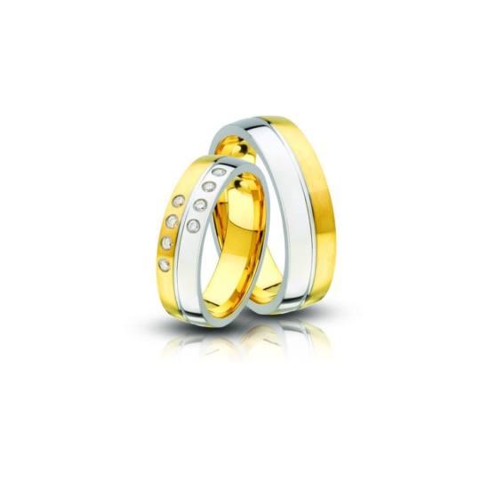 Acél karikagyűrű pár cirkónia kővel (AC-02)