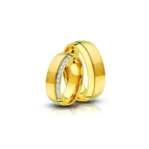 Acél karikagyűrű pár cirkónia kővel (AC-01)