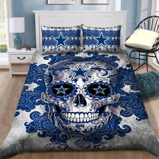 dallas cowboys sugar skull bedding set duvet cover pillow cases