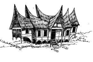 Gambar Rumah Adat Minangkabau Hitam Putih Rumah Adat Indonesia