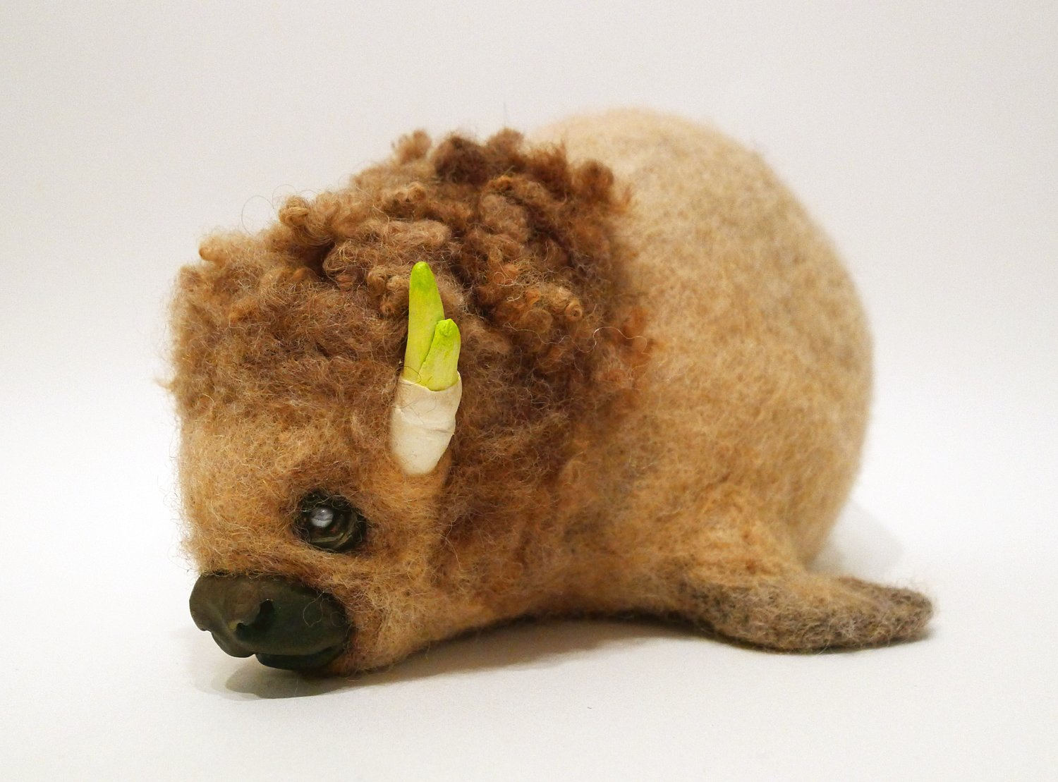 Felt buffalo animal sculpture doll