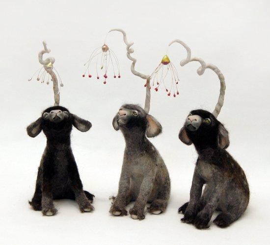 Felt and mixed media lamb sculpture by Karina Kalvaitis - all rights reserved