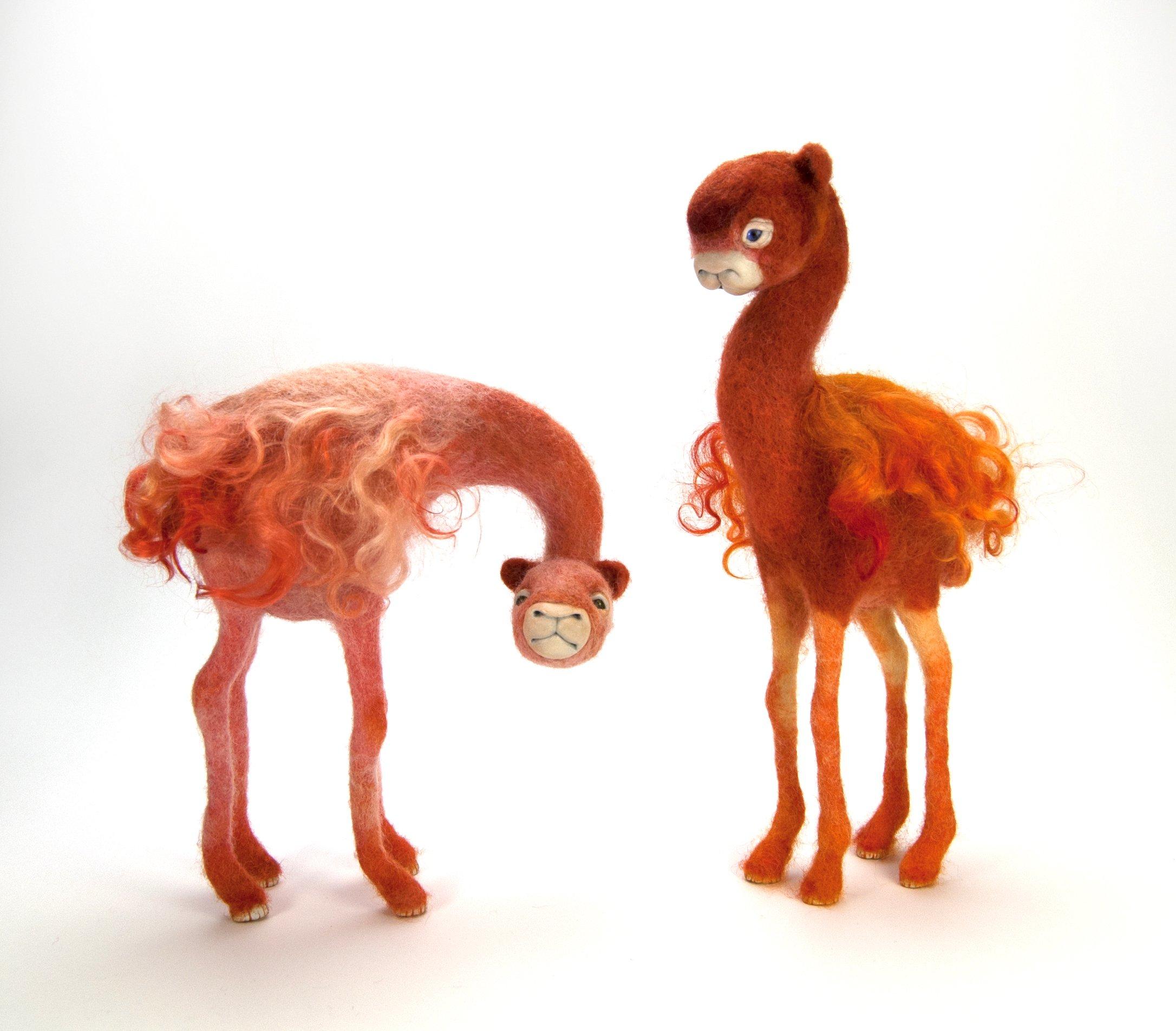 Needle Felt and Mixed Media animal sculptures