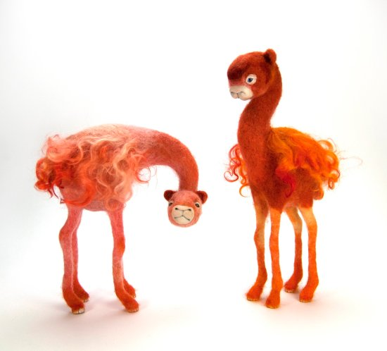 Needle Felt and Mixed Media animal sculptures