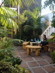 Study Space- This is the area in the hostel where I typically did my studying. It was the designated smoking area but it was used for such purposes, infrequently Antigua, Guatemala -- April Beresford