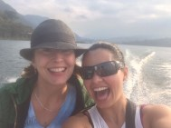 Riding a really, REALLY fast boat on Lake Atitlan