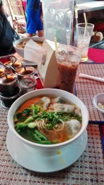 Vietnamese coffee and noodle soup with Mr Sombath's warm company