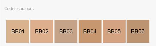 codes couleurs bb crème onikha