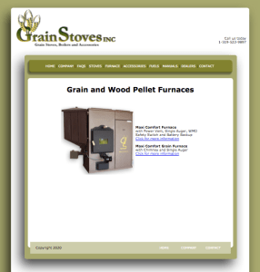 Grain Stoves Inc. Web Product Page