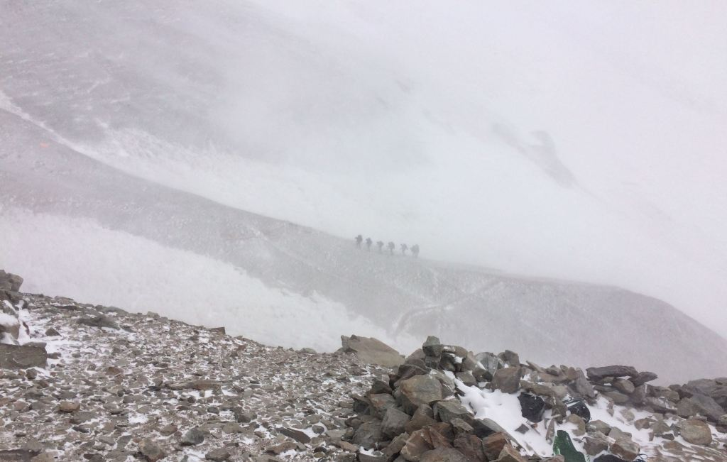 Climbers in the snow on Aconcagua via the 360 route