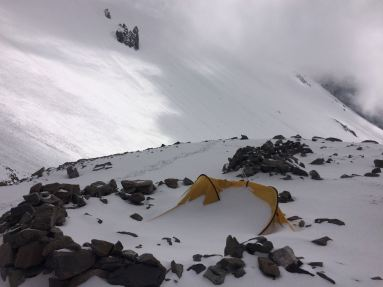 Tent that got buried in a blizzard on camp 1 of Aconcagua via the 360 route