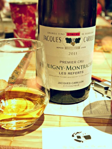 Domaine Jacques Prieur Puligny-Montrachet 2011 1er Cru Les Combettes Thomas choose a Côte de Beaune (Bourgogne) to match the citrusy and toasted notes to Guan's cuisine.