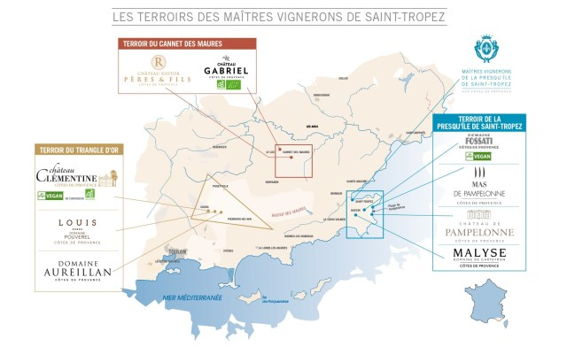 saint tropez wine map vin carte