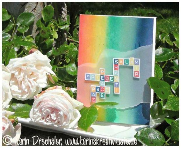 A6-Karte in Regenbogenfarben Frieden Peace