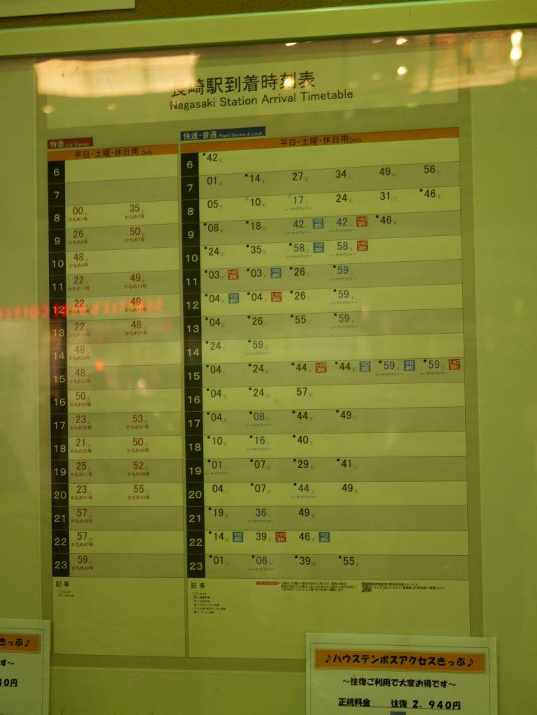 長崎駅到着時刻表