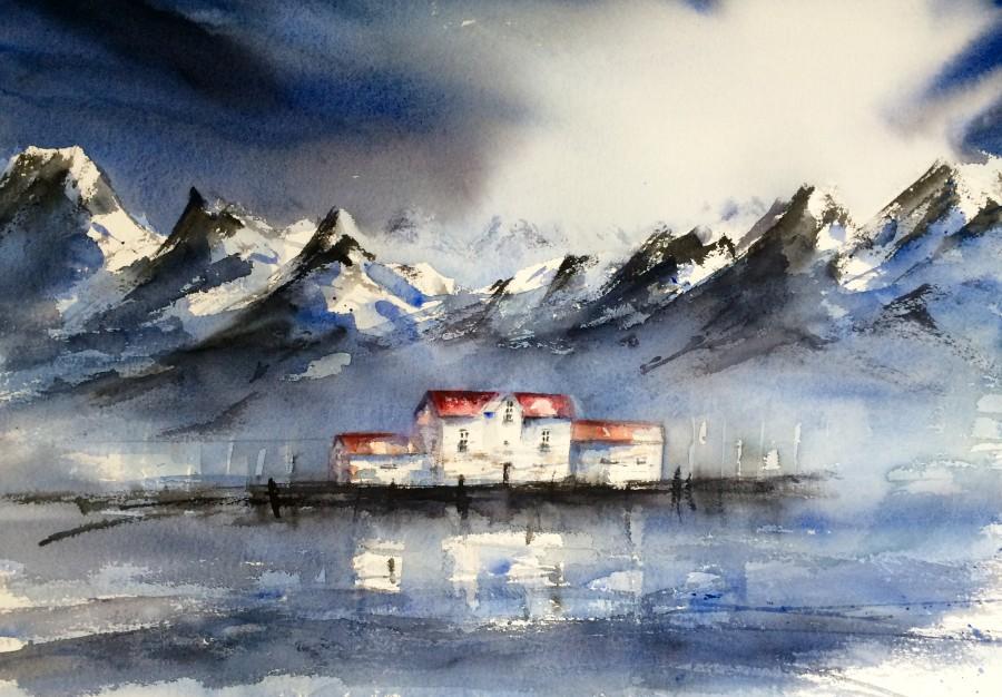 Akvareller Landskap
