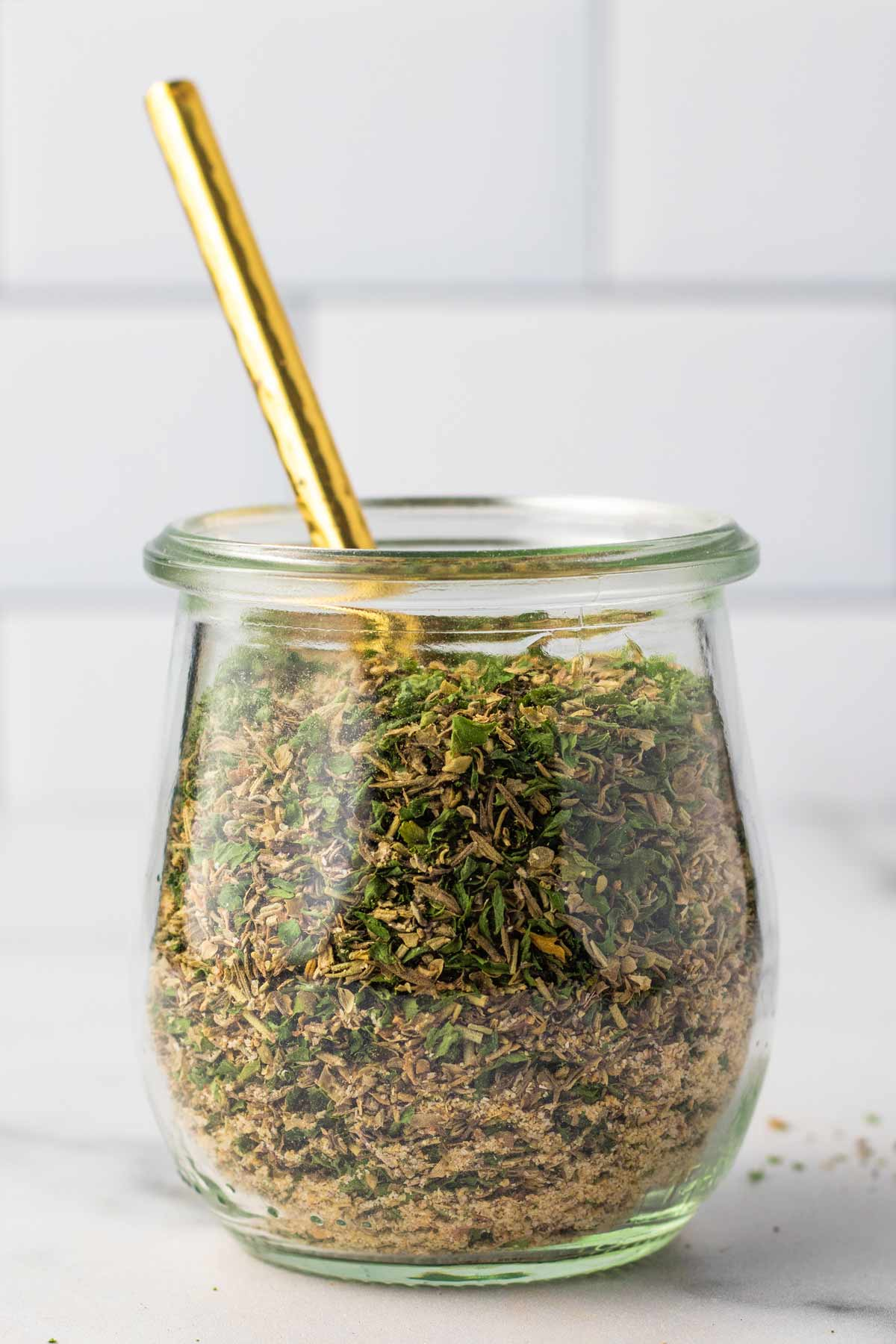 Jar of homemade Italian seasoning.