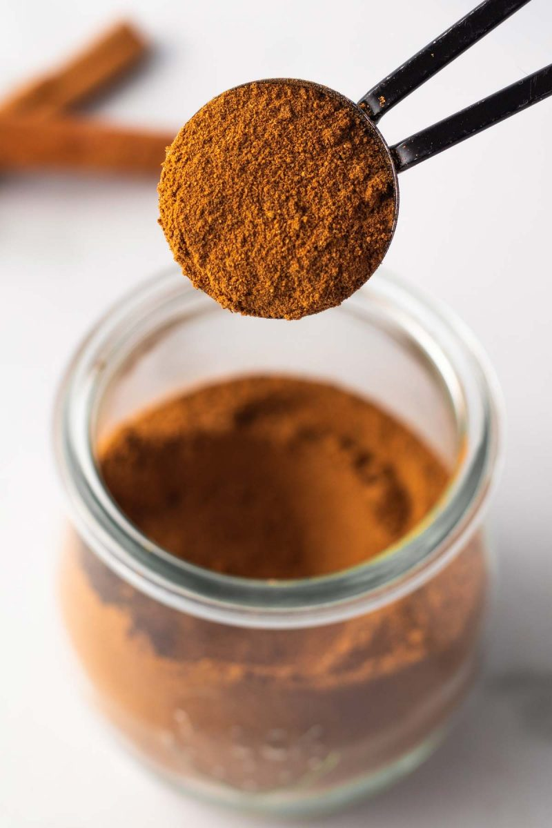Closeup of a teaspoon of DIY pumpkin pie spice.