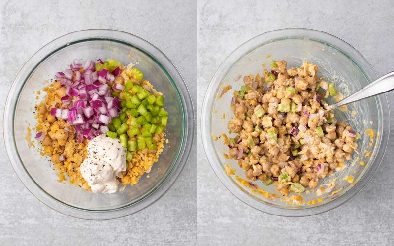 A collage of two images side-by-side showing how to make chickpea salad. The first shows a bowl of mashed chickpeas with chopped red onions, chopped celery, vegan mayo, salt, pepper, garlic powder, and lemon juice added to the top. The second image shows everything mixed together.