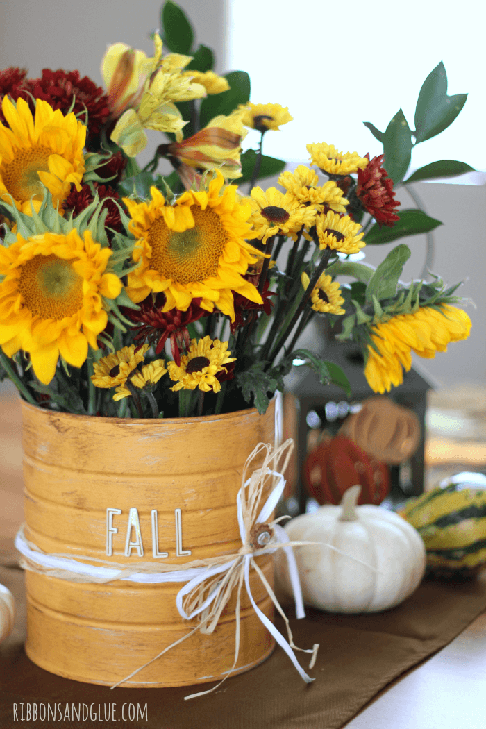 Upcycled Coffee Can Idea - Rustic Flower Vase