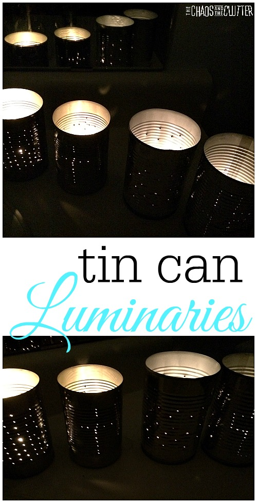 Upcycled Coffee Can Ideas: Tin Can Luminaries