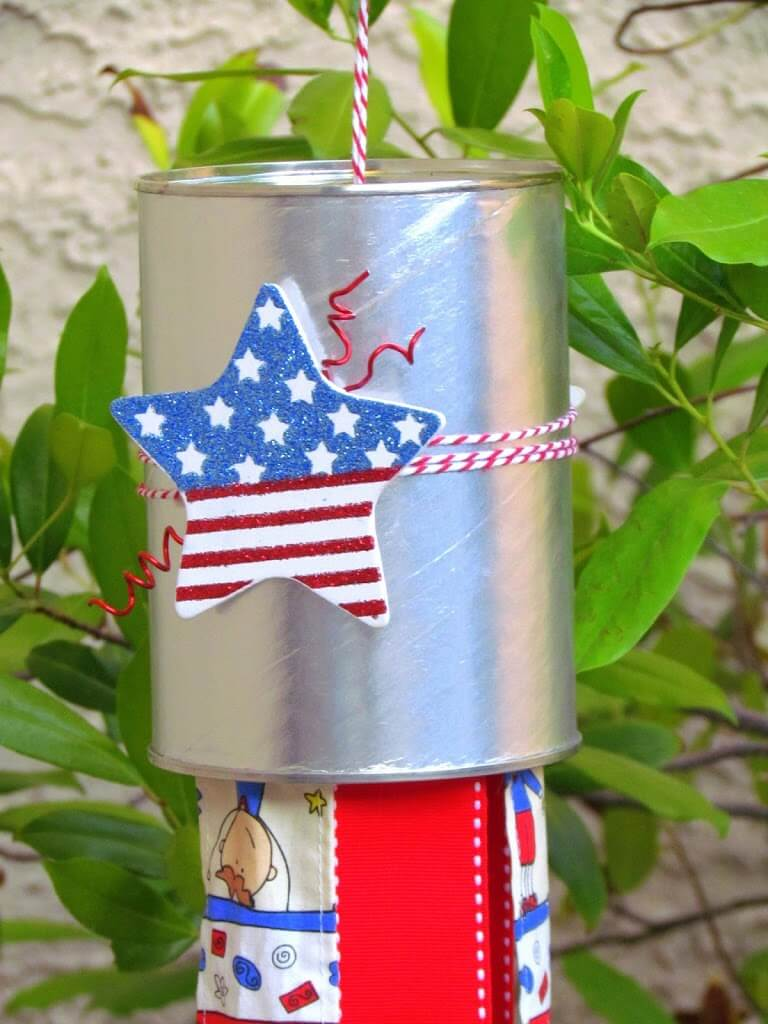 Upcycled Coffee Can Ideas: Patriotic Windsock