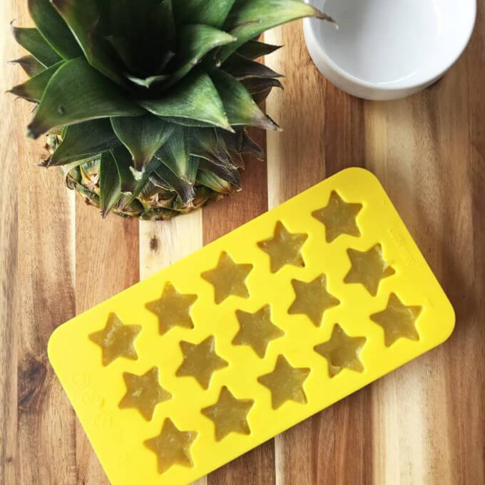 Pineapple Matcha Vegan Gummies made with agar powder. This is a healthy gummy recipe with no added sugar! Delicious as a little pick-me-up snack.