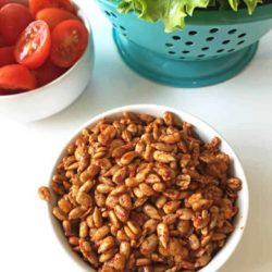 Healthy vegan salad recipes don't have to be bland and boring! Make these super simple and quick vegan bacon bits to jazz up your salad and add lots of delicious, smokey, salty flavor. This vegan bacon bits alternative recipe calls for simple, wholesome ingredients.
