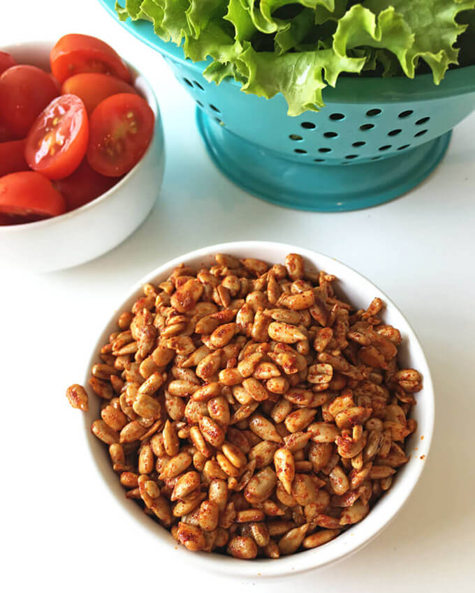 Make these super simple and quick nut-free vegan bacon bits to jazz up your salad and add lots of delicious, smokey, salty flavor.
