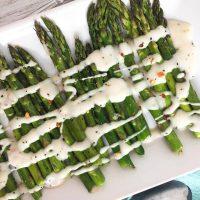 Roasted Asparagus with Cream Sauce - Vegan Side Dish Recipe