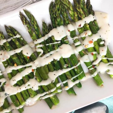 Roasted Asparagus with Cream Sauce - Vegan Side Dish Recipe