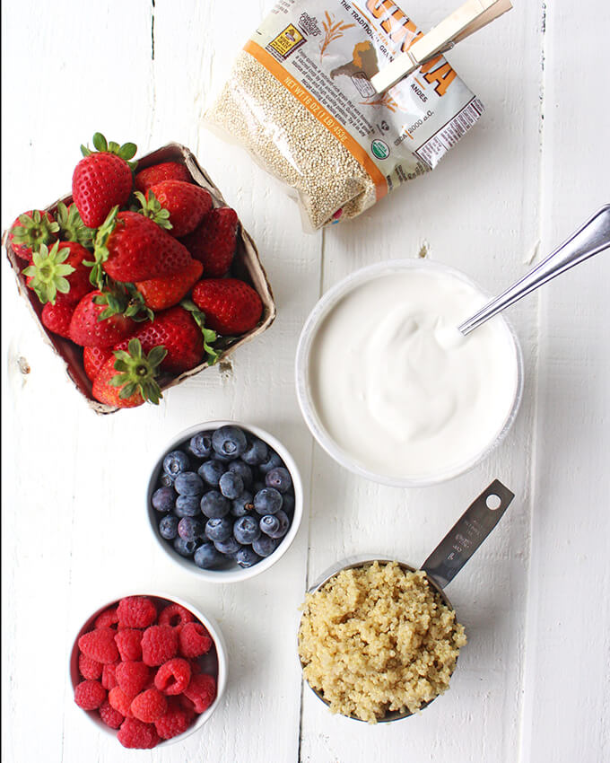 Triple Berry Quinoa Parfait - A healthy vegan breakfast idea!