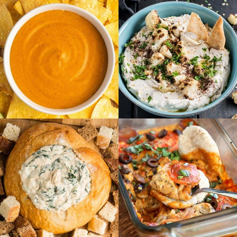 4 vegan dip recipes in a collage: vegan nacho cheese, cauliflower dip, spinach dip, and vegan pizza dip.