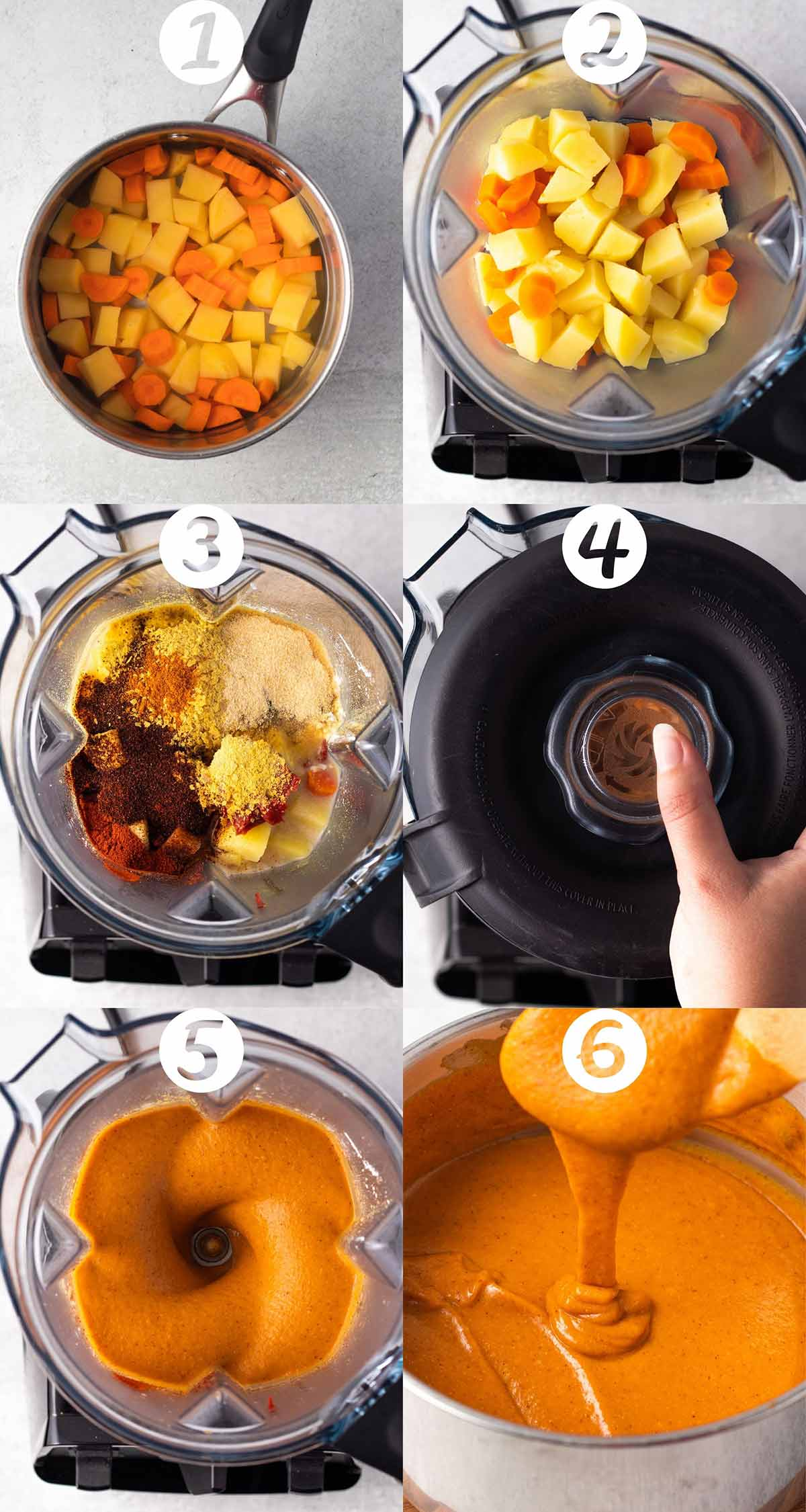 A step-by-step collage. 1) Cut up potatoes and carrots in a pot with water ready to boil. 2) Potatoes and carrots added into a blender. 3) The remaining ingredients added in. 4) The top placed on the blender ready to blend. 5) Nacho cheese mid-blend. 6) Cheese in a pot, thickened.