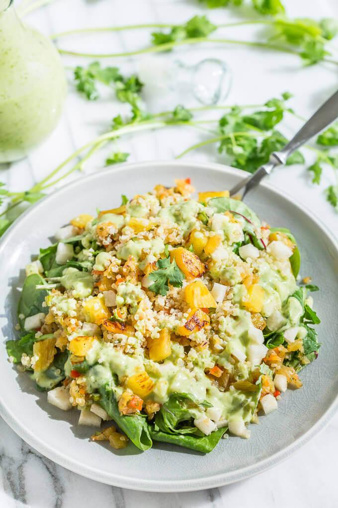 Tropical quinoa salad with pineapple salsa