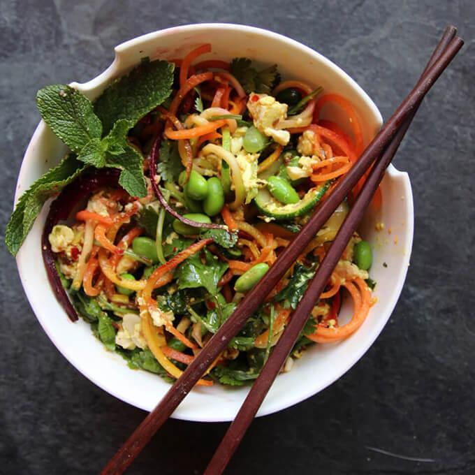 Rainbow paid thai with vegan tofu scramble