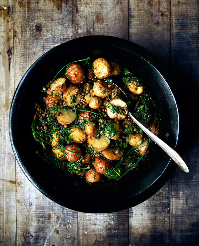 Roasted New Potato Salad with Lentils