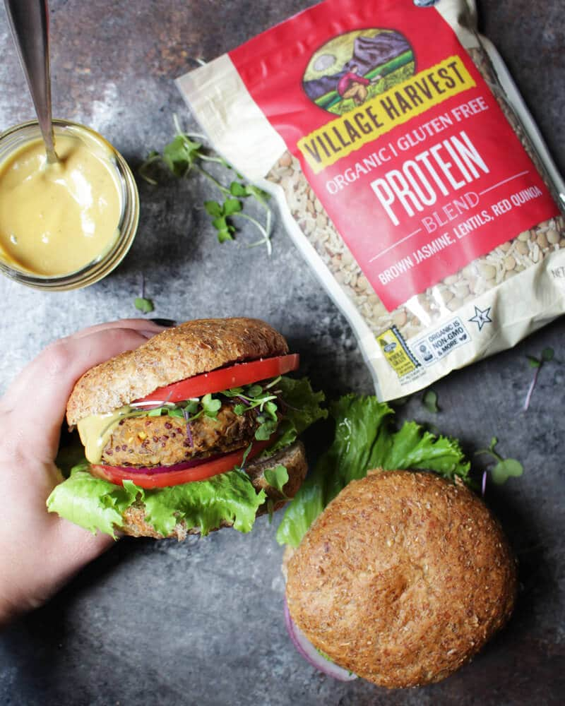 Vegan Potato Protein Burgers with Maple Mustard Sauce