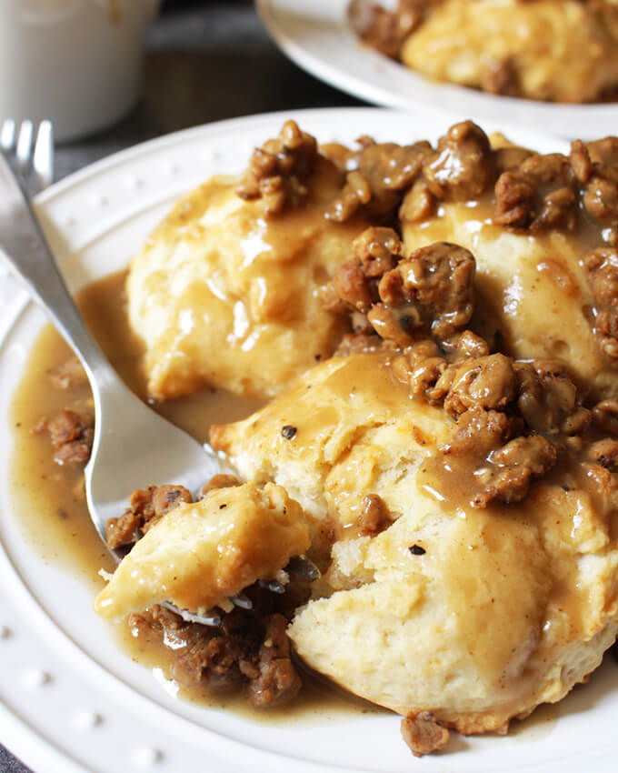 Vegan Breakfast Recipe: Sausage Gravy and Biscuits