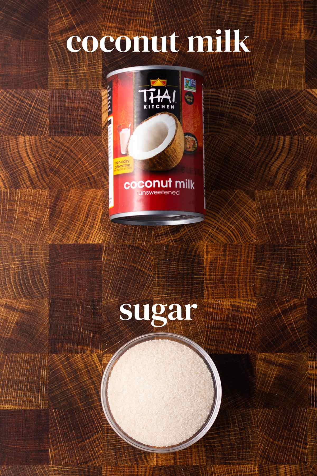 A can of full-fat coconut milk and sugar.